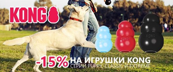Скидка 15% на линейки Classic, Extreme, Puppy игрушек KONG