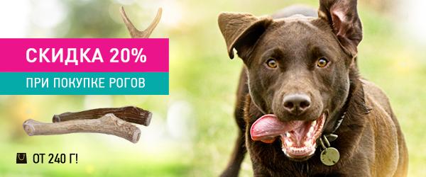 Скидка 20% на рога для собак и щенков!