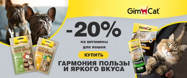 Скидка 20% на витамины GimCat для кошек