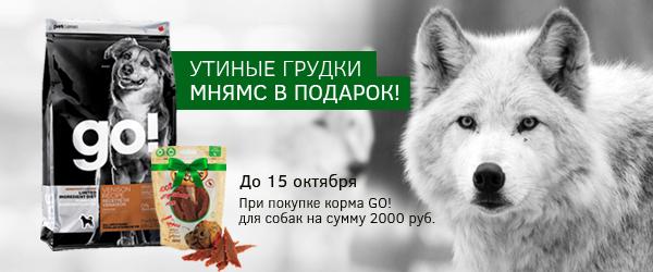 При покупке корма GO! для собак на сумму более 2000 руб.  - утиные грудки в подарок!