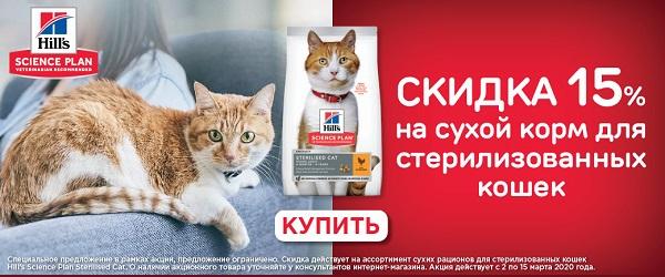 Скидка 15% на большие мешки Hill's для кошек