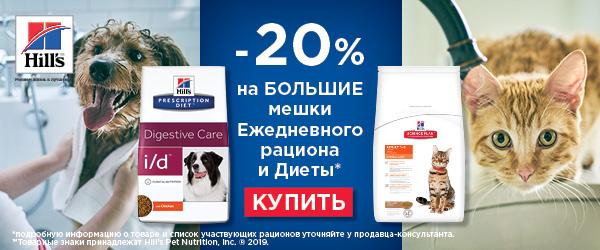 Скидка 20% на корма Hill's для кошек и собак
