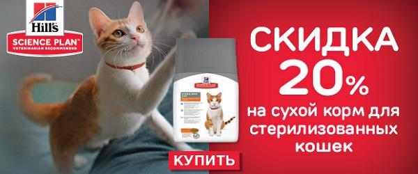 Скидка 20% на корма Hill's для стерилизованных кошек!