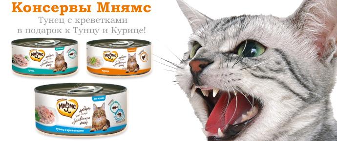 Супер-вкусы консервов Мнямс для кошек!