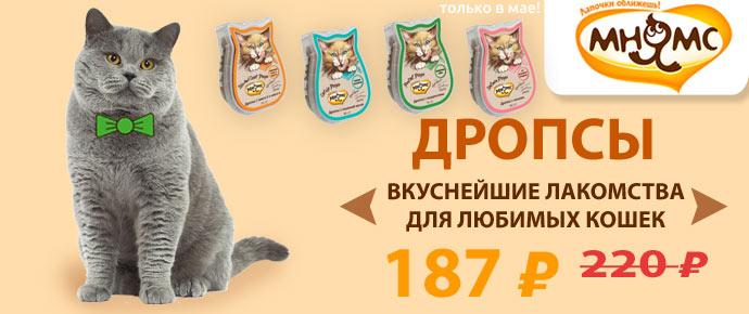 Скидка 15% на вкуснейшие лакомства для кошек - Мнямс Drops