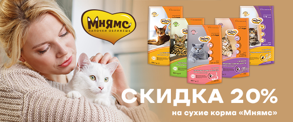 -20% на корм Мнямс для кошек