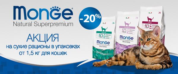-20% на сухой корм Monge для кошек и консервы для собак!