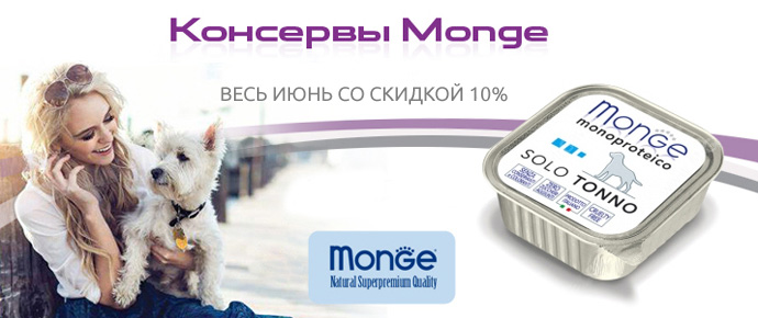 Распродажа консерв для собак Monge Monoproteico
