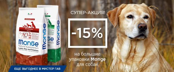 Скидка 15% на большие упаковки корма для собак и кошек Monge!
