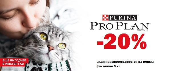 Скидка 20% на корма для кошек Pro Plan!