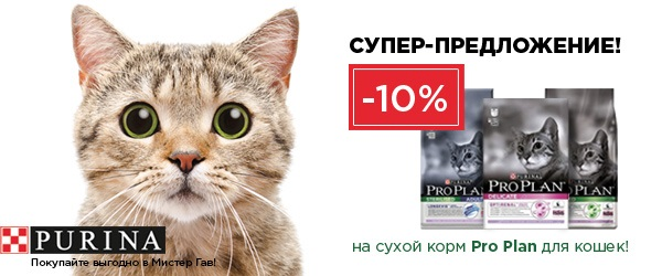 -10% на сухие корма для кошек Pro Plan
