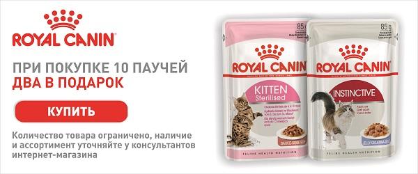 При покупке 10 паучей Royal Canin - 2 в подарок!