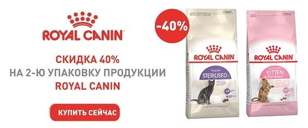 Скидка 40% на вторую упаковку корма для стерилизованных кошек Royal Canin!