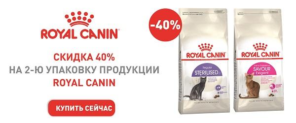 Скидка 40% на вторую упаковку корма Royal Canin для кошек