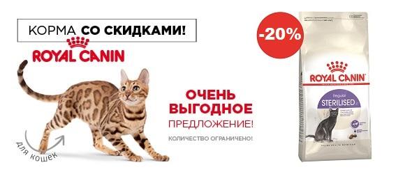 Скидка 20% на Royal Canin для кошек