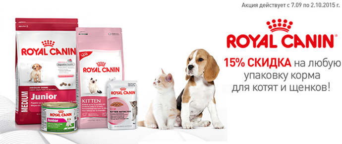 Скидка 15% на Royal Canin для щенков и котят!