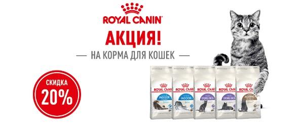 Скидка 20% на корм Royal Canin при покупке 2-х упаковок!