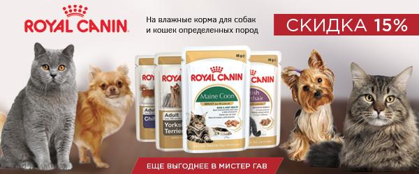 Скидка 15% на влажные корма Royal Canin для собак и кошек определенных пород!