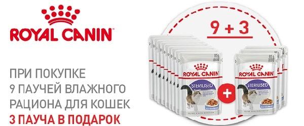 При покупке 9 паучей - 3 пауча Royal Canin в подарок!