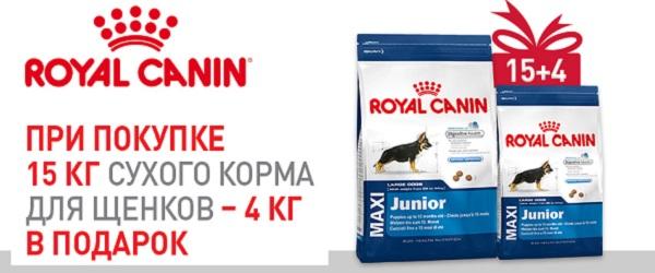 При покупке 15 кг Royal Canin для щенков – 4 кг в подарок!