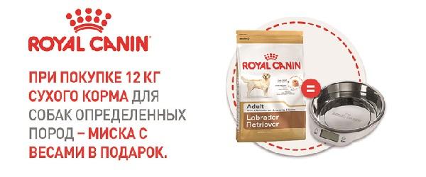 При покупке Royal Canin 12 кг для определенных пород - миска в подарок!