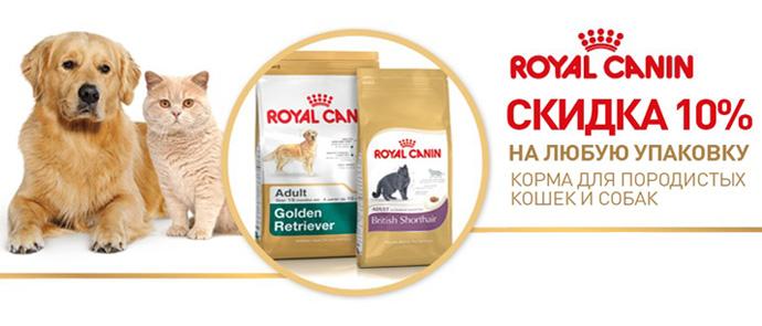 Скидка 10% на породные корма для собак и кошек Royal Canin