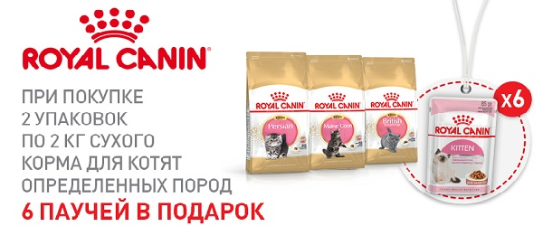 При покупке 2 упаковок 2 кг Royal Canin для котят - 6 паучей в подарок!