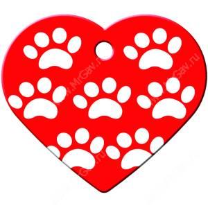 Адресник Petscribe Сердце большое, лапки