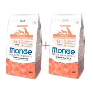 Акция 1+1 Monge Dog All Breeds Speciality Puppy&Junior (Лосось с рисом), 0,8 кг