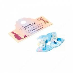 Бантик Бабочка 3,5*2,5 см, голубой с бабочками, 2 шт.