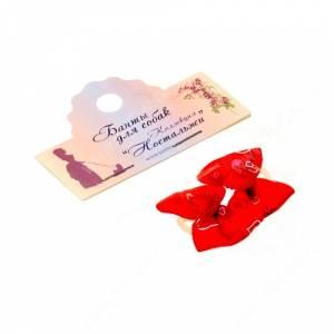 Бантик Бабочка 3,5*2,5 см, красный с сердечками, 2 шт.