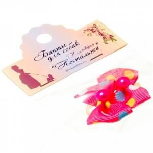 Бантик Бабочка 3,5*2,5 см, розовый в горох, 2 шт.