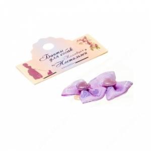 Бантик Бабочка 3,5*2,5 см, сиреневый с сердечками, 2 шт.