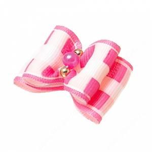 Бантик двойной объемный 3*2,5 см, розовая клетка