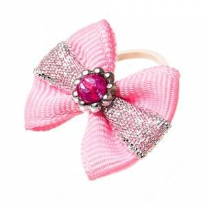 Бантик розовый с серебряной полоской, 2 шт.