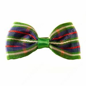 Бантик зеленый клетчато-полосатый