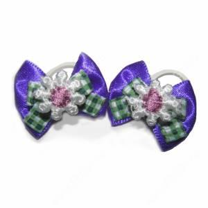Бантики фиолетовые с белым цветком