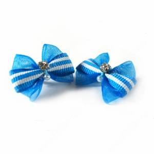 Бантики голубые с камнем и жемчугом