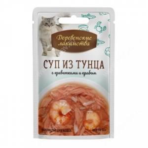 Деревенские лакомства суп из тунца с креветками и крабом для кошек, 35 г