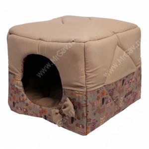 Домик Кубик-трансформер, M, 45 см*45 см*45 см, бежевый