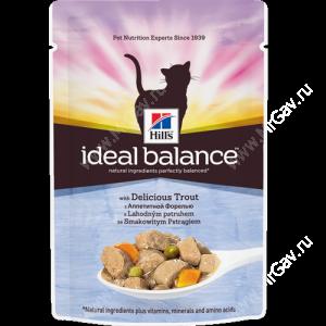Hill's Ideal Balance влажный корм для кошек с аппетитной форелью, 85 г