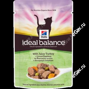 Hill's Ideal Balance влажный корм для кошек с сочной индейкой, 85 г