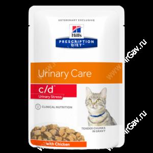 Hill's Prescription Diet c/d Multicare Urinary Stress влажный корм для кошек с курицей, 85 г