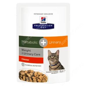 Hill's Prescription Diet Metabolic & Urinary Stress Weight & Urinary Care влажный корм для кошек с курицей, 85 г