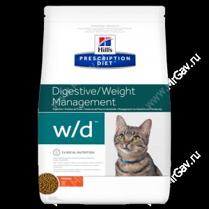 Hill's Prescription Diet w/d Digestive/Weight Management сухой корм для кошек с курицей