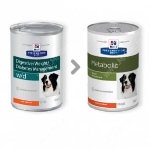 Hill's Prescription Diet w/d Digestive/Weight/Diabetes Management влажный корм для собак с курицей, 370 г