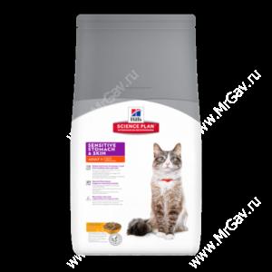 Hill's Science Plan Sensitive Stomach & Skin сухой корм для кошек для здоровья кожи и пищеварения с курицей