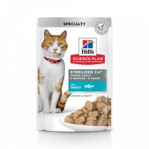 Hill's Science Plan Sterilised Cat влажный корм для кошек и котят от 6 месяцев с форелью, 85 г
