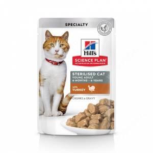 Hill's Science Plan Sterilised Cat влажный корм для кошек и котят от 6 месяцев с индейкой, 85 г