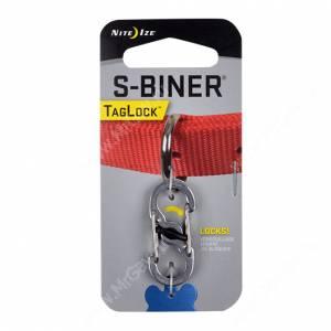 Карабин для медальона NiteIze S-Biner TagLock, стальной